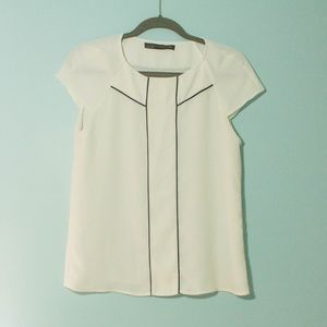 Zara Ivory Blouse with Black Piping